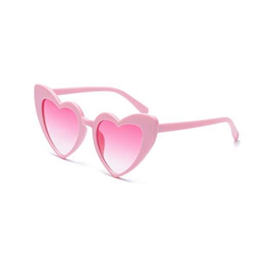 大人と子供のためのトレンディなハート形のサングラス、日光ゴーグル、100%UV保護、(女性) (Color : B)