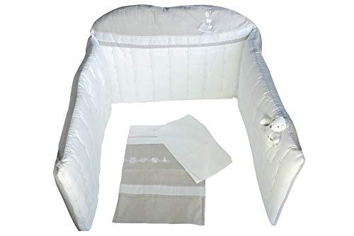 Dilibest by Picci Parure de lit 3 pièces avec housse de couette et tour de lit en paracolpi Marron/gris