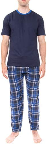 Swiss Alps Mens T Shirt and Buffalo Plaid Check Fleece Lounge Pants Pajama Gift Set Navy Blue product image