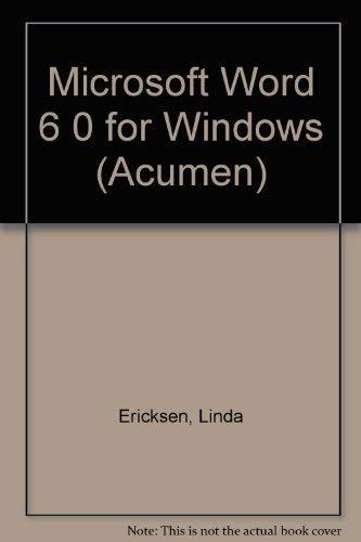 Microsoft Word 6 0 for Windows (Acumen)