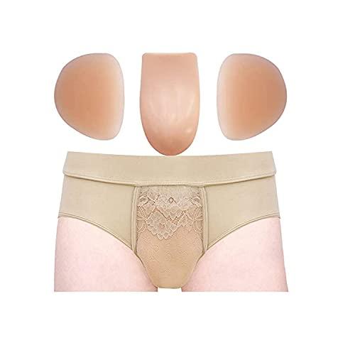 ONEFENG Crossdressing Gaff Panty für Crossdresser Feminine Hiding Gaffs Thong Unterwäsche mit Hip Butter Lifter Pads