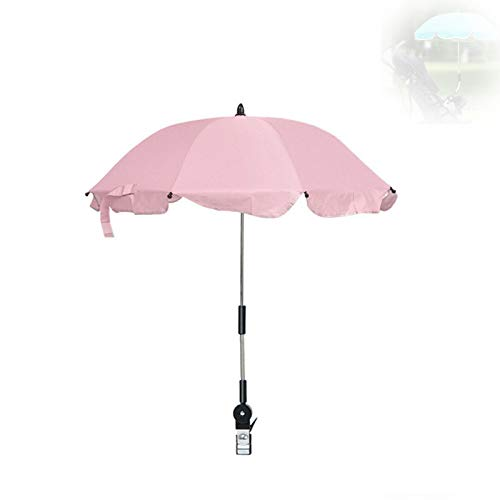 Paraguas De Cochecito Universal Con Clip Con Dispositivo De Fijación De Clip De Paraguas Ajustable, Protege El Sol Y La Lluvia Para Cochecitos Y Carritos, Parasol Plegable (Pink)