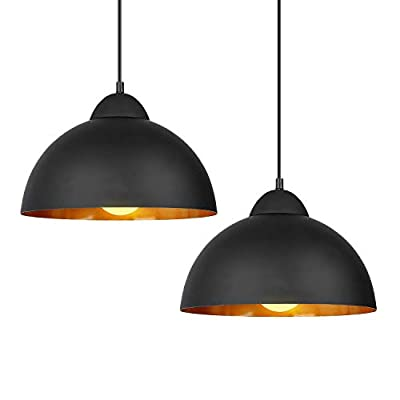Deckey Pendant Light with 47inch Cord,2 Pack,?30cm,for E27 Bulbs,Industrial Hanging Pendant Lights,Barn Pendant Light,Linear Dome Pendant Lighting,for Dinning Room/Bedroom/Barn/Café(Black)