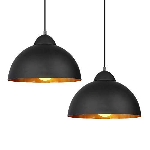 Deckey Pendant Light with 47inch Cord,2 Pack,Φ30cm,for E27 Bulbs,Industrial Hanging Pendant Lights,Barn Pendant Light,Linear Dome Pendant Lighting,for Dinning Room/Bedroom/Barn/Café(Black)