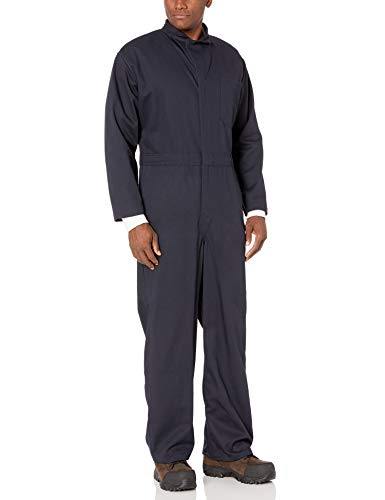 Bulwark Men's Flame Resistant 9 oz Twill Cotton Classic Coverall with Hemmed Sleeves, Navy, 42 Long