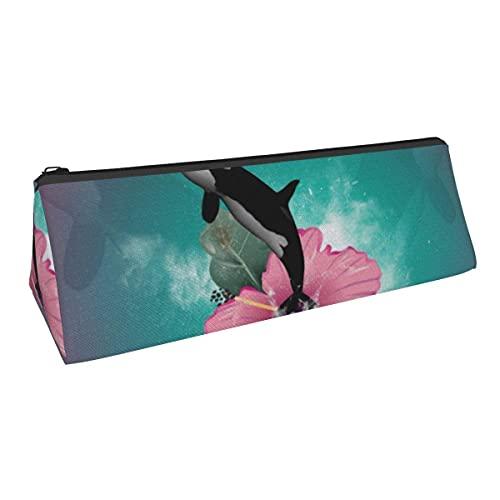 Orca Jumping Out of A Flower - Bolsa de almacenamiento para bolígrafos (triángulo, tamaño pequeño), para niños y niñas, escuela, oficina, alicates