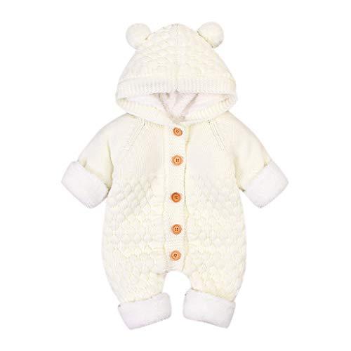 LEXUPE Neugeborenes Baby Ohr Kapuze Gestrickte Strampler Overall Winter wärmer Schneeanzug für Jungen Mädchen(D-Weiß,80)