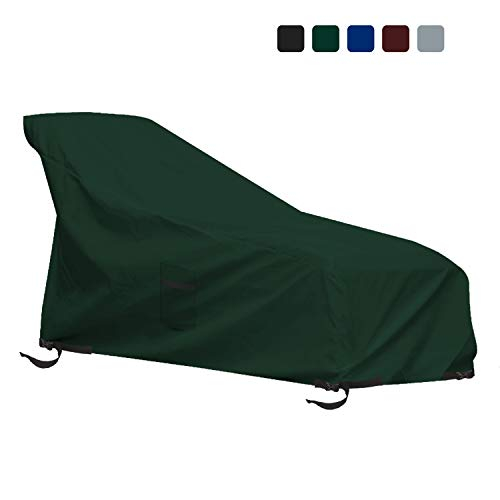 Patio Chaise Lounge Cover 12 Oz Waterproof - 100% UV & Weather Resistant 1000 D PVC Coated Outdoor Furniture Chaise Covers with Air Vents and Drawstring for Snug fit (82W x 57D x 32H, Green)