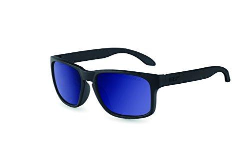 Pegaso Rocky Gafas de sol, Negro/Espejo Azul Revo, 55 Unisex