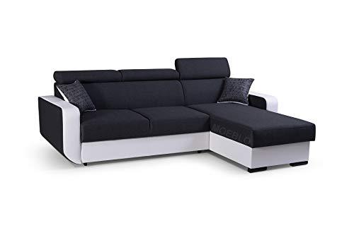 mb-moebel Ecksofa mit Schlaffunktion Eckcouch mit Bettkasten Sofa Couch Wohnlandschaft L-Form Polsterecke Pedro (Schwarz + Weiß, Ecksofa Rechts)
