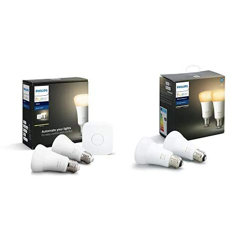 Philips Hue Pack de 2 Bombillas Inteligentes LED E27 y Puente, con Bluetooth, Luz Blanca Cálida, Compatible con Alexa y Google Home + Pack de 2 Bombillas Inteligentes LED E27, con Bluetooth