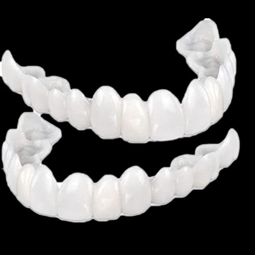 Teeth Veneers,Snap On Denture Fake Teeth Veneers for Teaching and Temporary Braces Cover The Imperfect Teeth for Instant and Improve Smile for Instant and Confidence Smile(2 Pcs)