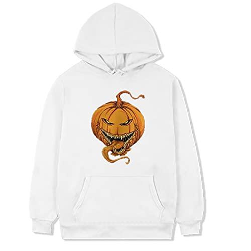W Weiluogao Scary Pumpkin Halloween Hoodie Scary Pumpkin Evil Killer Sudadera (3XL,Blanco)