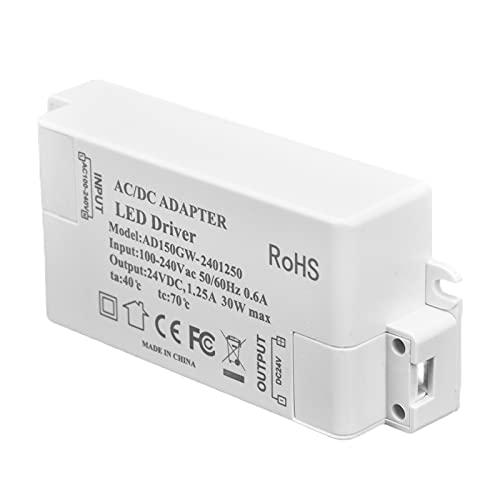 Transformador De Luz De Tira LED, Accesorios De Iluminación A Prueba De Agua Transformador LED Estable 30W DC 24V Para Baños