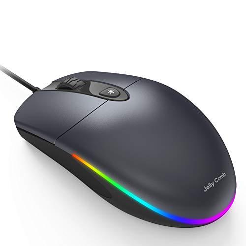 Jelly Comb Beleuchtete Maus mit Kabel, Kabelgebundene Maus mit RGB Beleuchtung, 4 leise Tasten, 1600 DPI Optische Maus für Computer, Laptop, Mac(Grau)