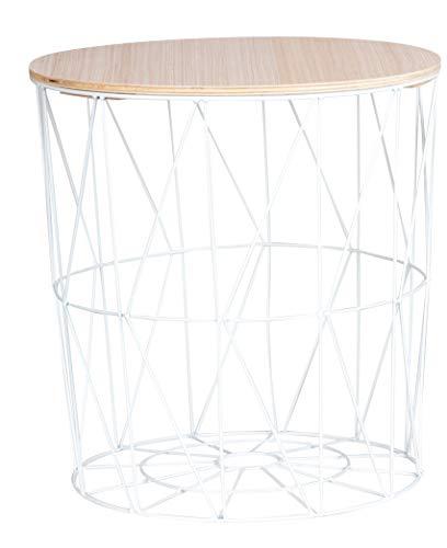 Moderna mesa auxiliar de metal con tapa de madera – Mesa decorativa con cesta con espacio de almacenamiento blanco – Tablero de mesa claro – Mesa de salón (39 x 40 cm)
