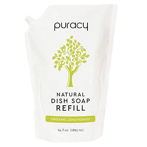 Puracy Natural Dish Soap Refill, Organic Lemongrass, 64 Fl Oz, Skin-Friendly Liquid Dishwashing Detergent