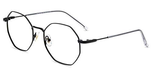 Firmoo Blaulichtfilter Brille ohne Sehstärke Damen, Anti Blaulicht Computer Brille Entspiegelt Anti Kopfschmerzen, Polygon UV Blaufilter Brille für Bildschirme, Schicke Metall Brillenfassung Herren