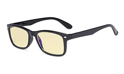 Eyekepper Blaulichtblockierung Computerbrille Damen Herren mit gelb getönter Filterglas - Klassische Brillen - Schwarz +0.50