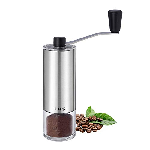 Manual Coffee Grinder with Adjustable Ceramic Conical Burr Brushed Stainless Steel Hand Crank Mill for Drip Coffee, Espresso, French Press, Turkish Brew