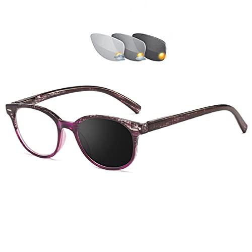 HAOXUAN Gafas de Lectura fotocromáticas, Lente de Resina asférica bifocal, Gafas Que cambian de Color Inteligente, Lector de Sol Unisex con bisagras de Resorte,Púrpura,+2.50