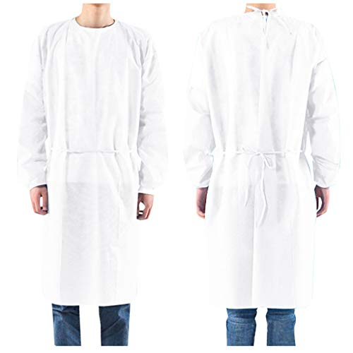 [US Stock] Loash Angwen Disposable Suit, Coveralls Protective Suit, Full Body Gowns Clothing Suits Elastic cuffs with waist