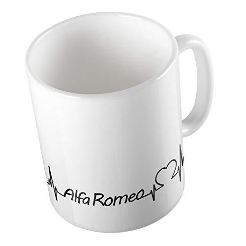 Bedruckte Tasse Becher für Alfa Romeo Fans Herzschlag Puls Herz Automarke Liebe