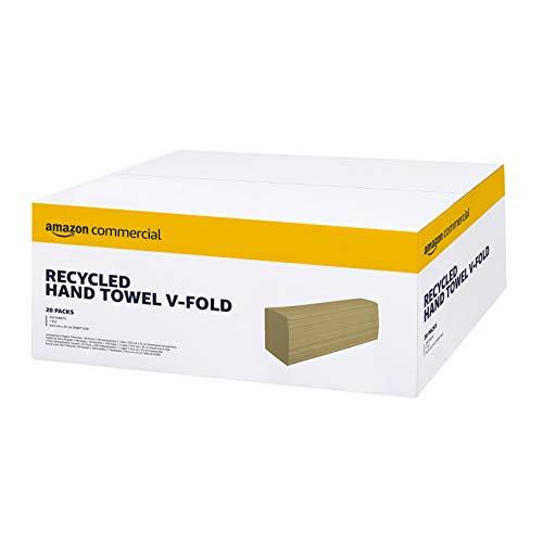 AmazonCommercial - Toalla de manos recicladas de uso profesional, dobladas en V, paquete de 20, 5000 hojas