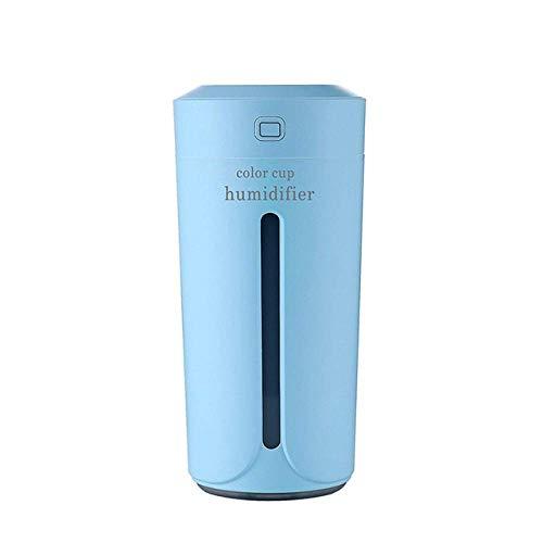 YNHNI 230ml Mini humidificador de Aire Essential USB humidificador Aroma del Coche difusor eléctrico del Aceite difusor de luz LED de la Taza (Color : Blue)