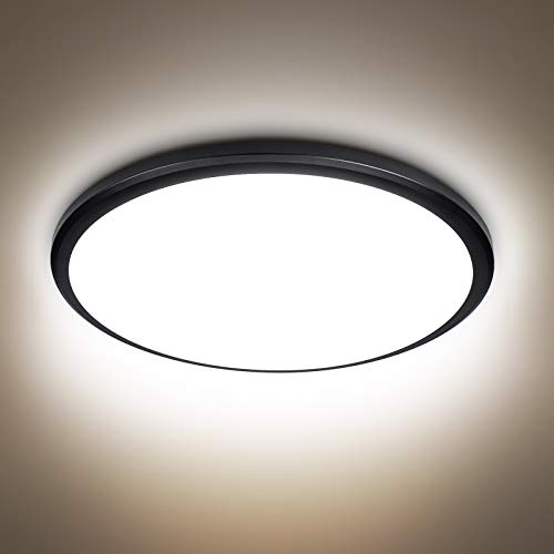 24W LED Deckenleuchte Schwarz Deckenlampe Rund, bedee Deckenlampe Büro Schlafzimmer Wohnzimmer Küche Badlampe Decke LED Warmweiß 4000K 2040LM Moderne Leuchte [Energieklasse A++]