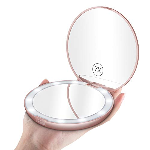 Benbilry LED Lighted Travel Makeup Mirror, 1x/7x Magnification, 5 Inch Dual Sided Vanity Mirror with Lights Portable Compact Illuminated Cosmetic Mirror – Perfect for Handbag (Rose Gold)