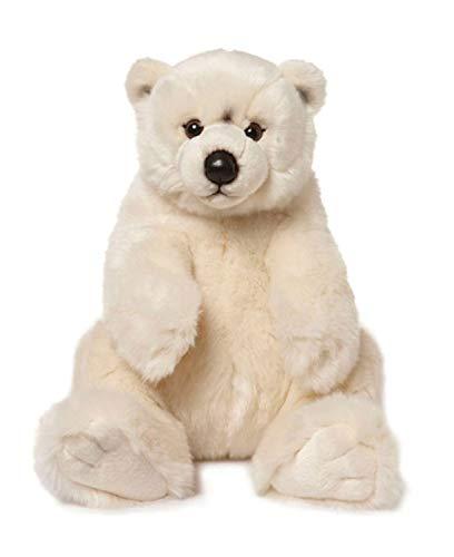 WWF WWF00478 Plüsch Eisbär sitzend, realistisch gestaltetes Plüschtier, ca. 32 cm groß und wunderbar weich