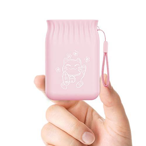 TNTOR 5000mAh Externer Akku, Klein und Leicht Powerbank [和風] japanischer Stil, kompatibel mit iPhone Samsung Galaxy Usw. (Kirschpulver)