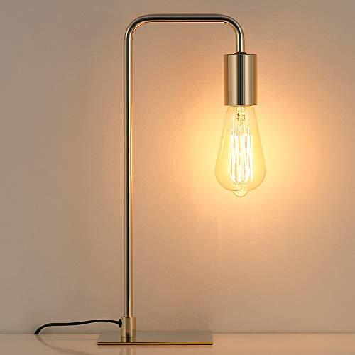 Lámpara de mesa vintage, lámpara de noche industrial para dormitorio, oficina, dormitorio, color dorado