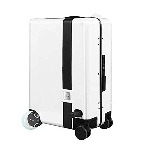 Pc-Hxl Folgt Automatisch Dem Trolley Koffer Elektrischer Intelligenter Koffer Anti-verlorene Alarmsystem Fernbedienung Reise-gepäck-Trolley-Koffer TSA Zollsperre (20 Zoll),Weiß,Fingerprintlock