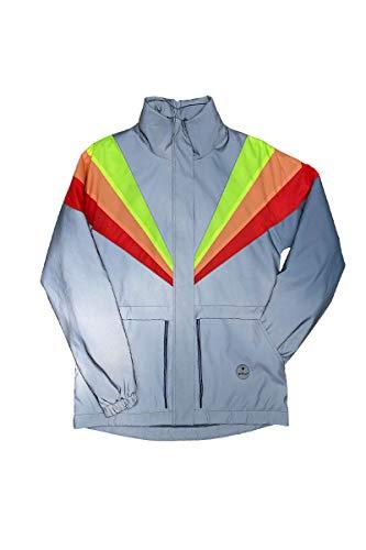 gofluo. Bobbi Sicherheitsweste - Reflektorweste - Fluo Neon - Warnweste - Reflektierende Jacke - Reflektierende Weste - Sichtbar im Dunkeln für Wanderer, Joggen, Fahrrad, Motorrad - Grau - M