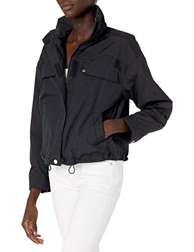 Armani Exchange A|X Damen Lightweight High Neck Full Zip Nylon Jacket Übergangsjacke, schwarz, Groß