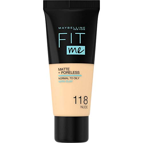 Maybelline Base de Maquillaje Fit Me (Mate y Sin poros), Tono 118 Light Beige - 30 ml