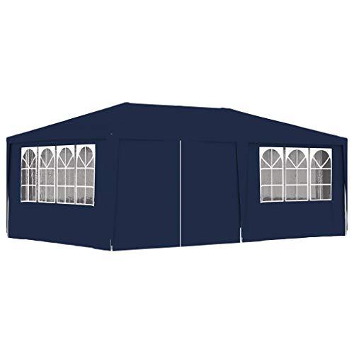 UnfadeMemory Profi-Partyzelt mit Seitenwänden Festzelt Lagerzelt Gartenzelt 90 g/m² PE und Stahlrahmen Universalzelt UV- und Wasserbeständig Party Gartenpavillon (4x6 m, Blau)