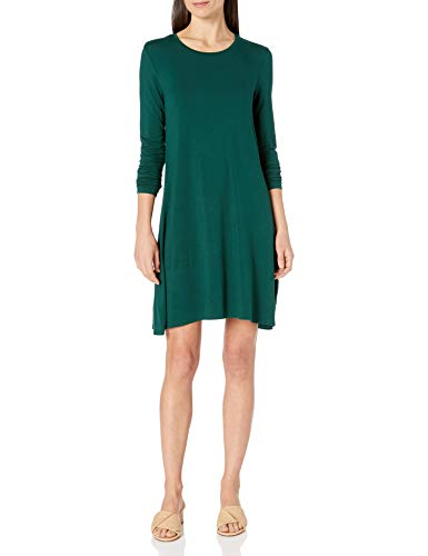 Amazon Essentials Long-Sleeve Crewneck Swing dresses, jade, S