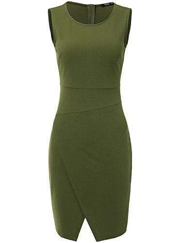 JayJay Women Wear To Work Business Sleeveless Slim Cocktail Pencil Wrap Skirt Dress,Armygreen,XL