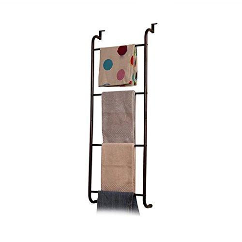 BOBE SHOP- Support de serviette de fer de salle de bains de salle de bains pour le cintre de vêtements de trapèze de Brown de porte