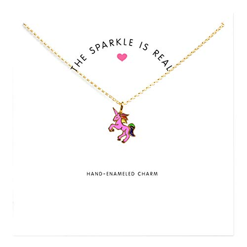 LANG XUAN Friendship Unicorn Clavicle Necklace Gold Lucky Rings Necklace with Meaning Card Gift …