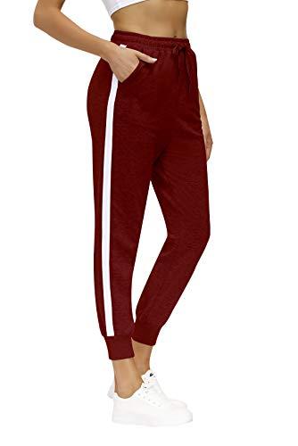 Yidarton Jogginghose Damen Sporthose Baumwolle Sweatpants Freizeithose Lang Trainingshose Fitness Jogger Laufhosen mit Elastischen Bund (Rot, M)