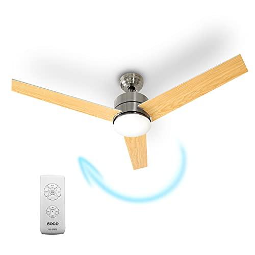 Sogo Ventilatore da soffitto con luce LED dimmerabile e telecomando con timer, risparmio energetico,...