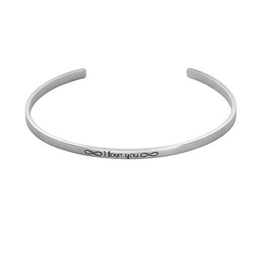 Heideman Armband Damen mit Gravur Freundschaftsarmband aus Edelstahl Silber farbend matt Armkette für Frauen mit Spruch Länge einstellbar