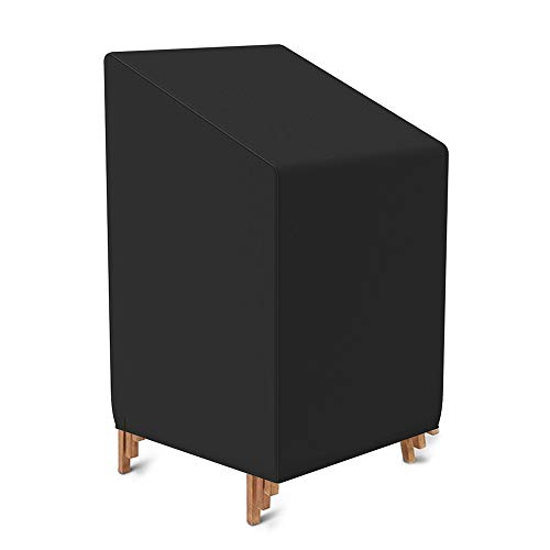 Funda protectora para silla de jardín impermeable de tela Oxford 210D, funda para silla apilable, fundas para muebles de jardín, patio exterior contra la intemperie, 75 x 75 x 90/120 cm