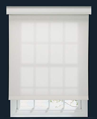 Decor Avenue Custom Cordless 5% Solar Screen Roller Shade Crystal 34 1/4 W x 66 to 78 H Inside Mount