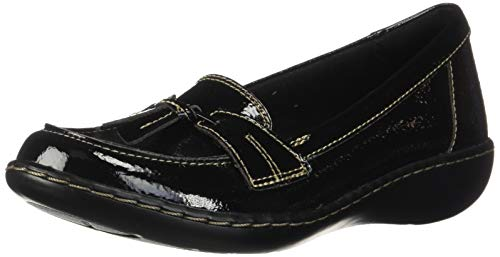 Clarks Women's Ashland Bubble Loafer, Black Crinkle Patent Synthetic, 120 N US