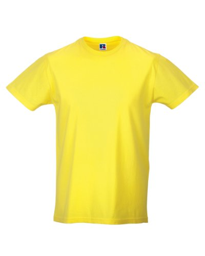 Russell Athletic - T-Shirt - Homme Blanc Blanc - Jaune - Small